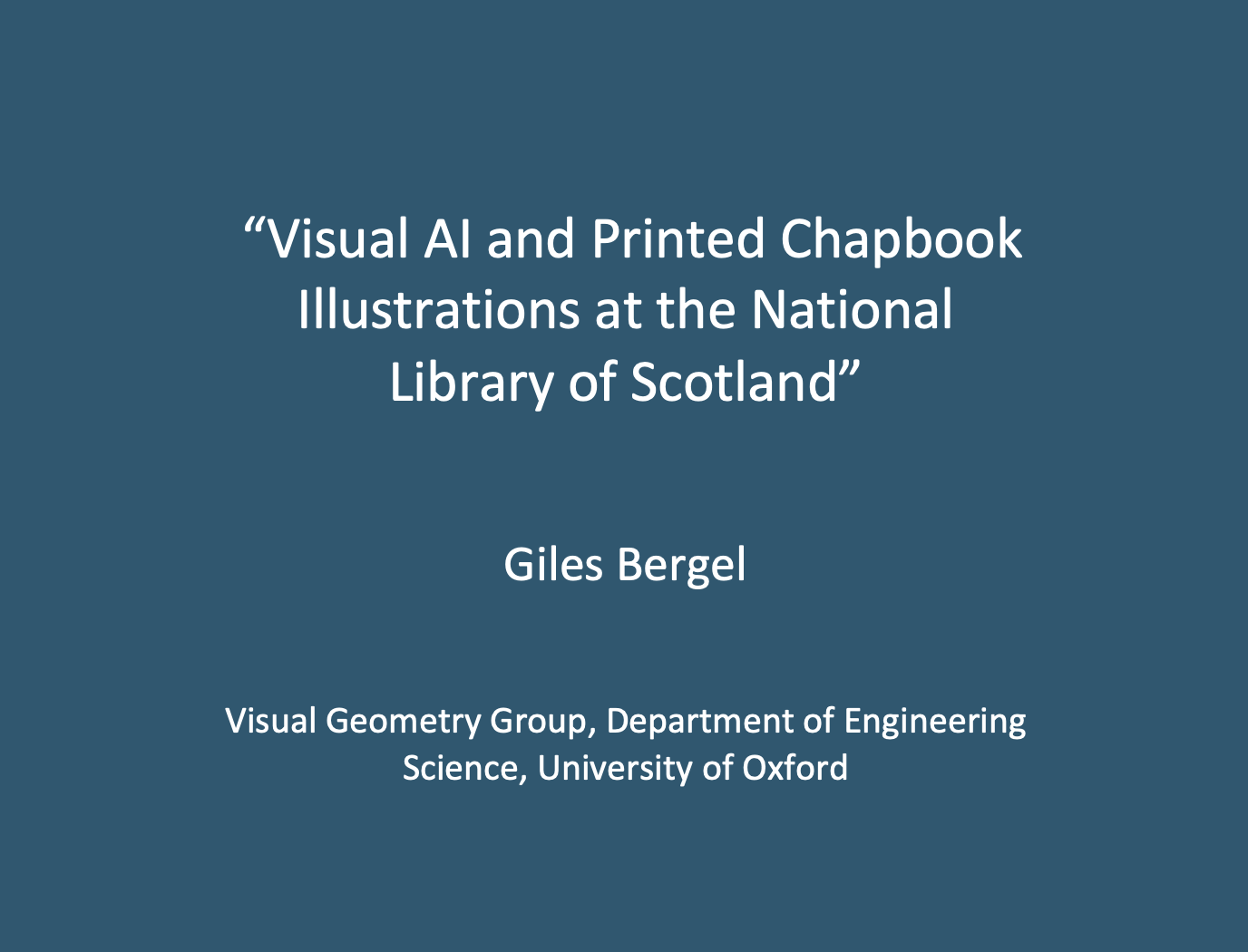 """Workshop 1: Giles Bergel, """"Visual AI and Printed Chapbook Illustrations at the National Library of Scotland"""""""